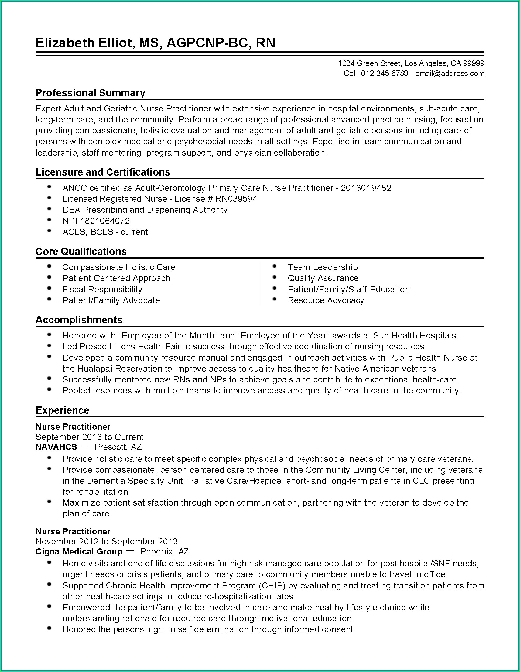 Free Entry Level Nurse Practitioner Resume Template