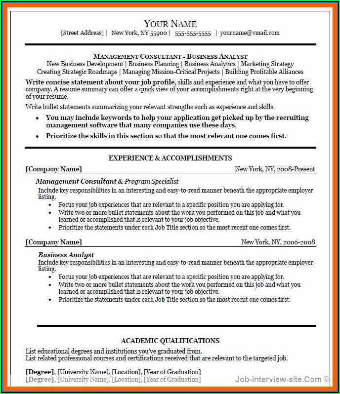 Free Executive Resume Templates Microsoft Word
