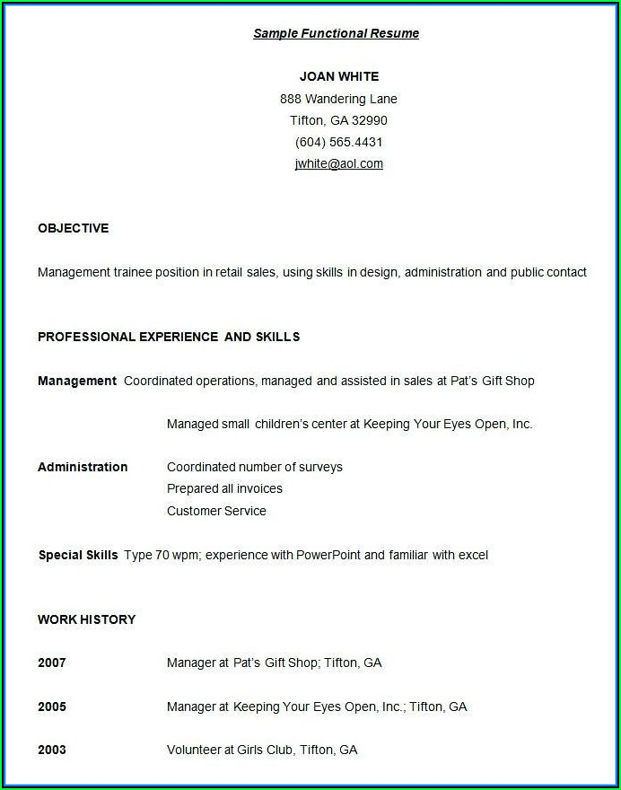 Free Functional Resume Samples