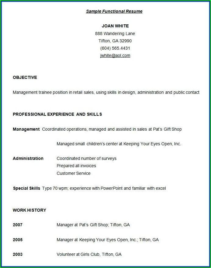 Free Functional Resume Samples