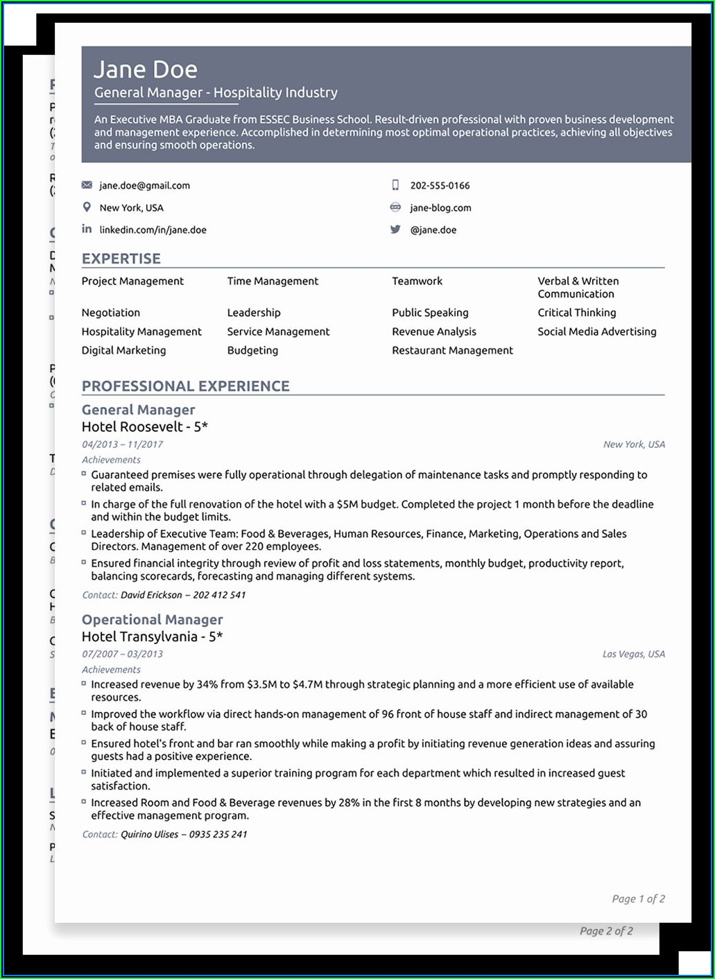 Free Functional Resume Templates 2019