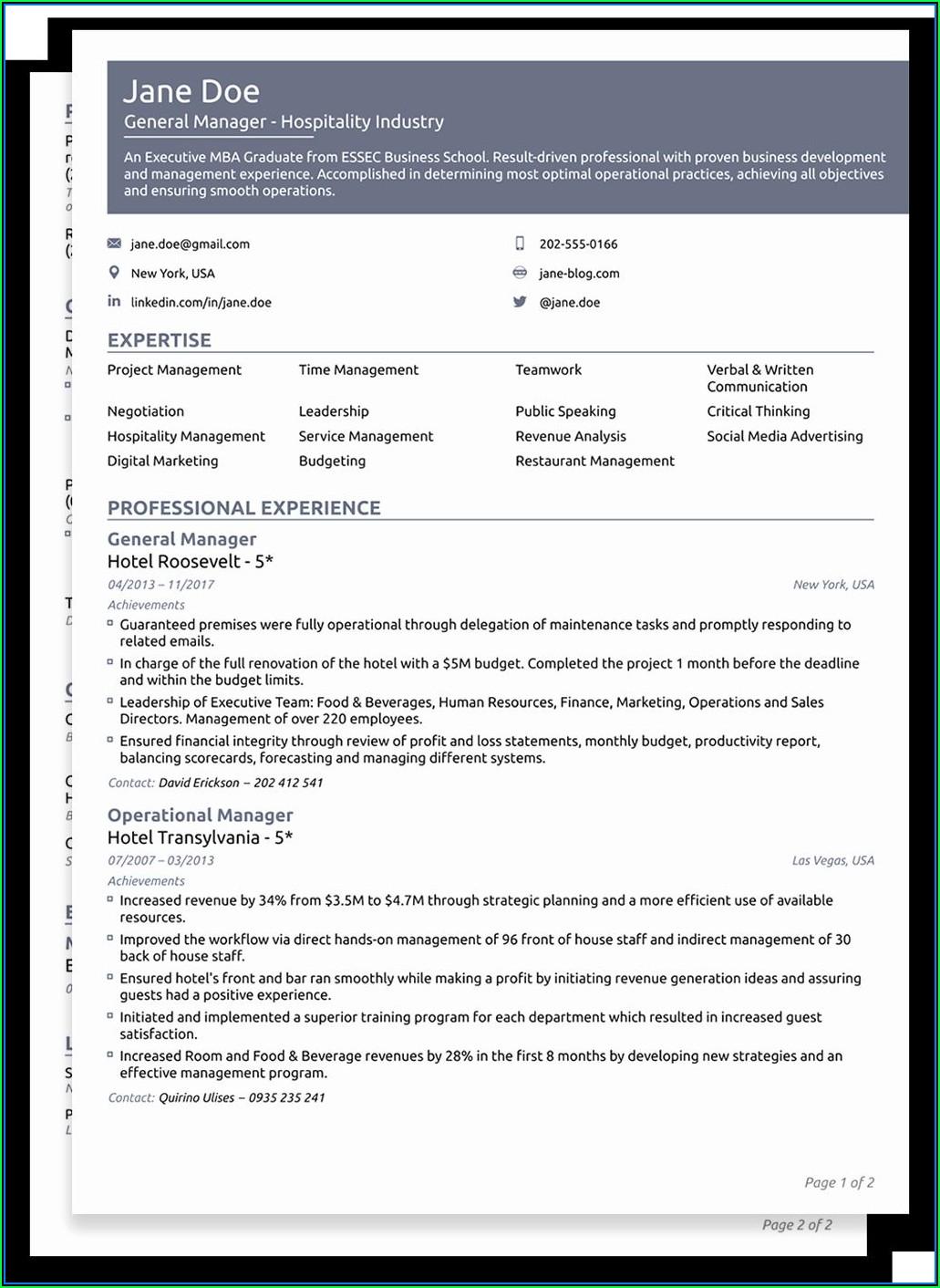 Free Functional Resume Templates 2019