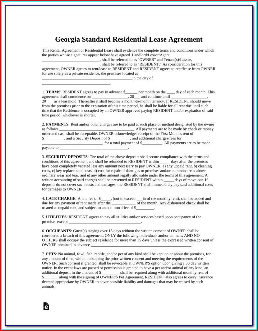 Free Georgia Rental Lease Agreement Form