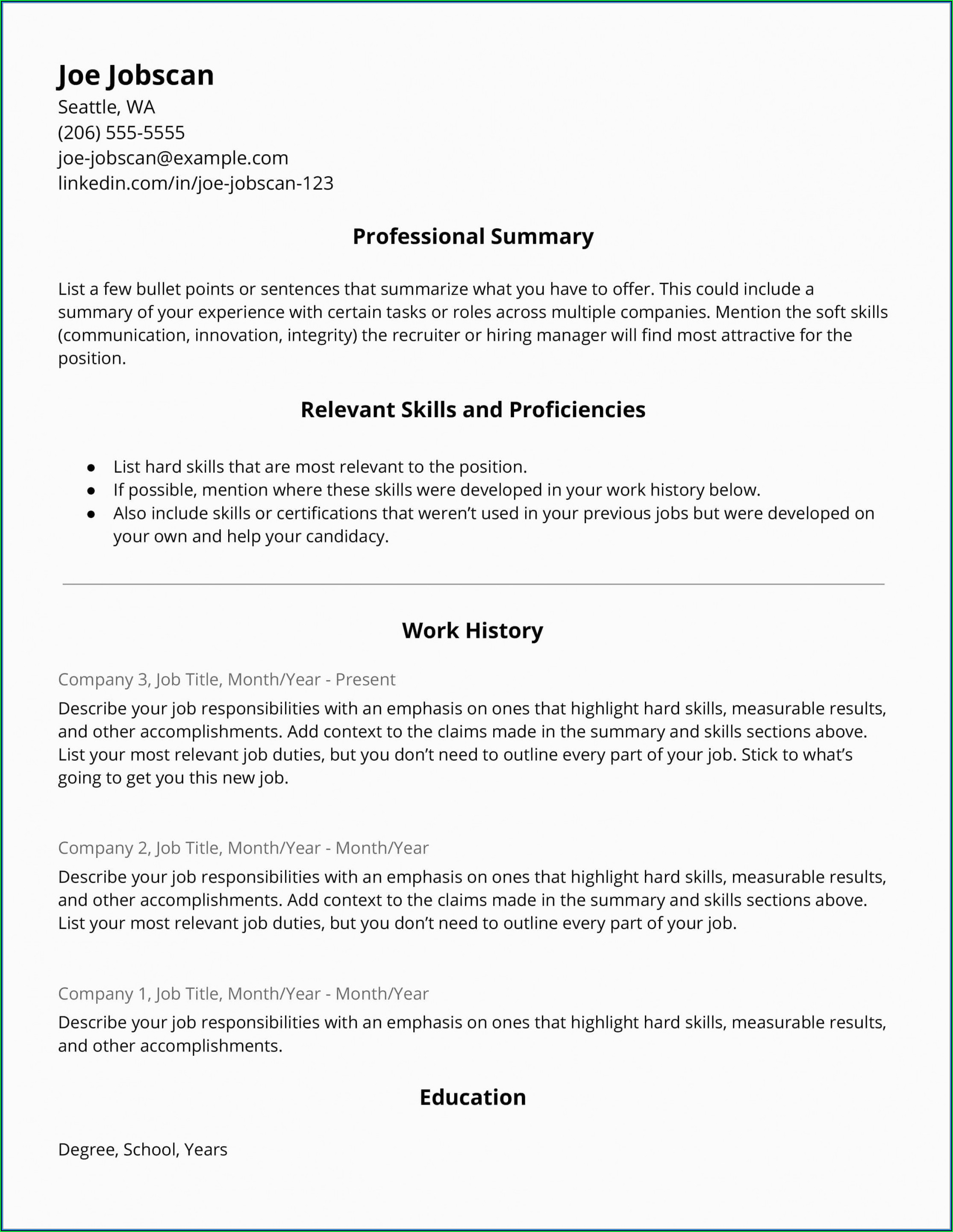 Free Hybrid Resume Template Word