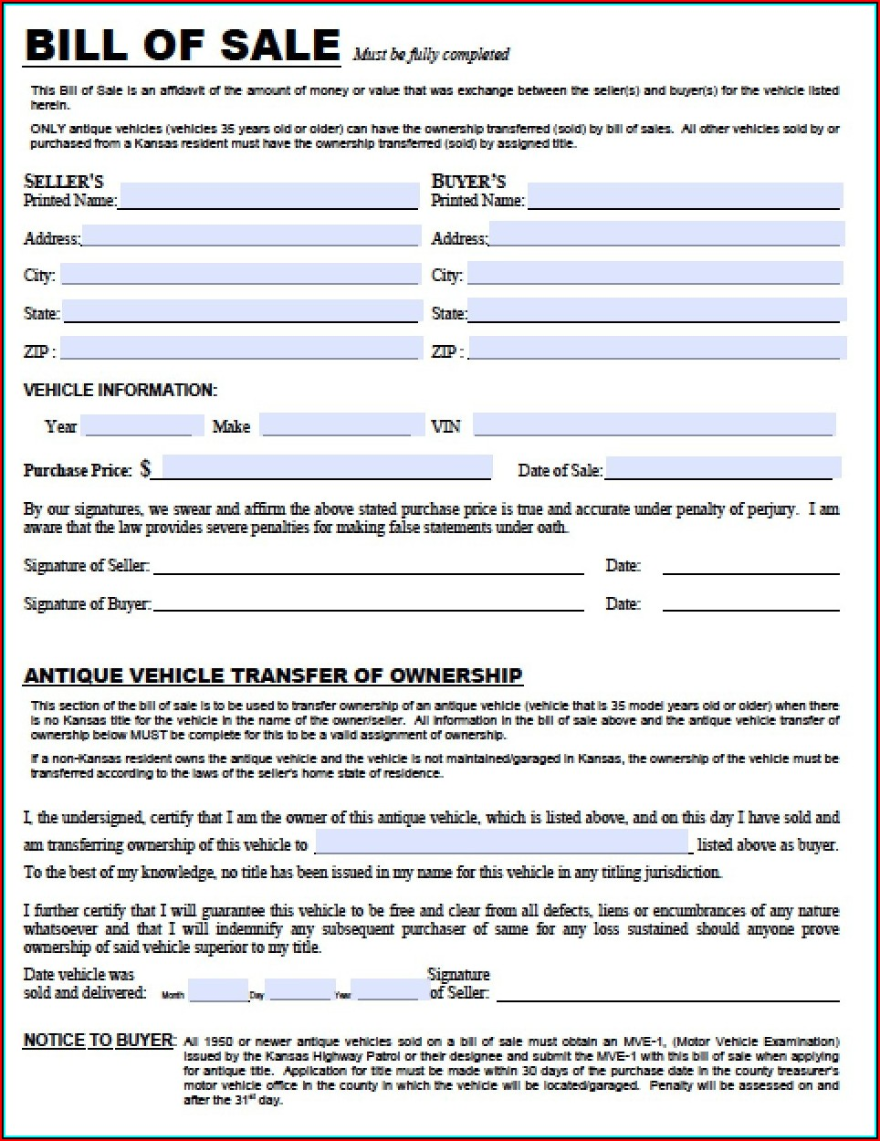 Free Kansas Auto Bill Of Sale Form