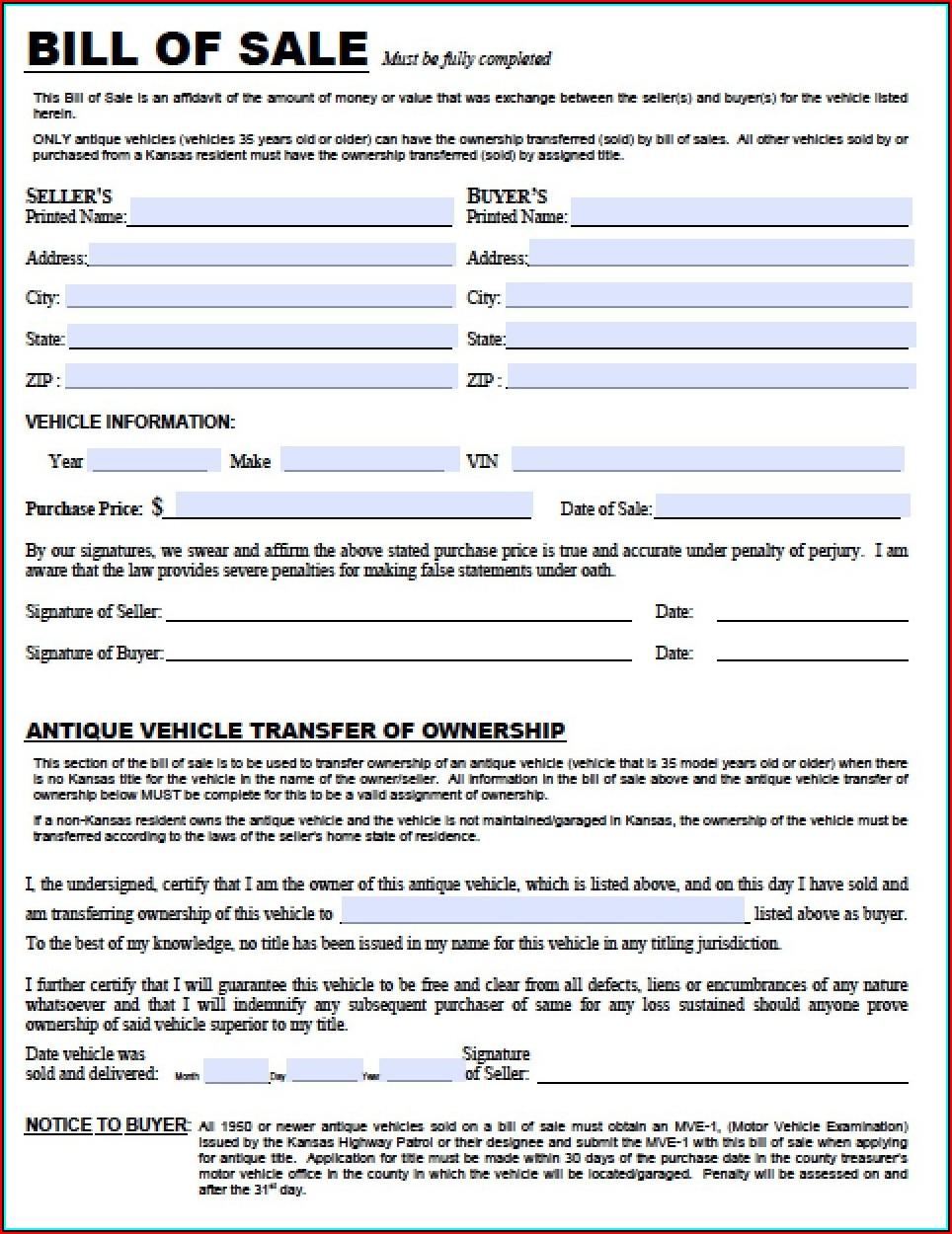 Free Kansas Auto Bill Of Sale Form