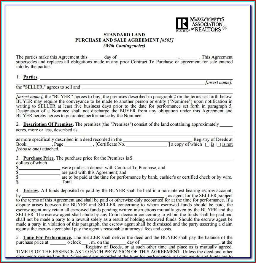 Free Land Contract Form Ohio