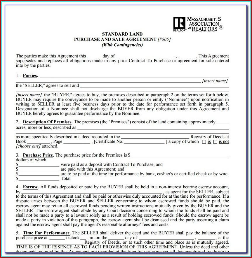 Free Land Contract Form Ohio