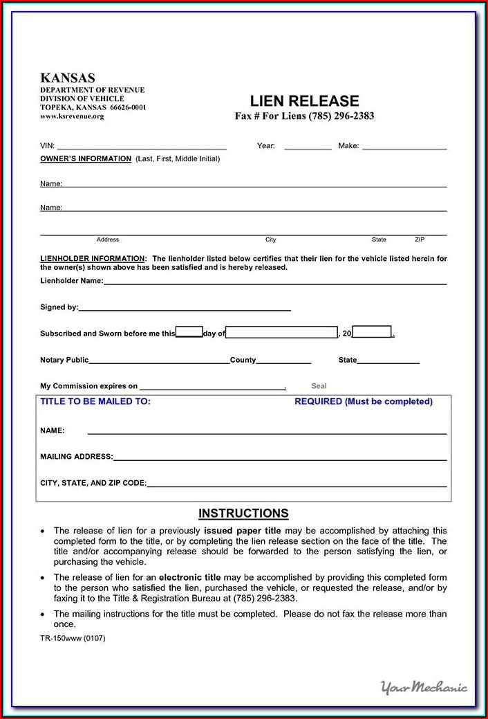 Free Lien Release Form Oklahoma