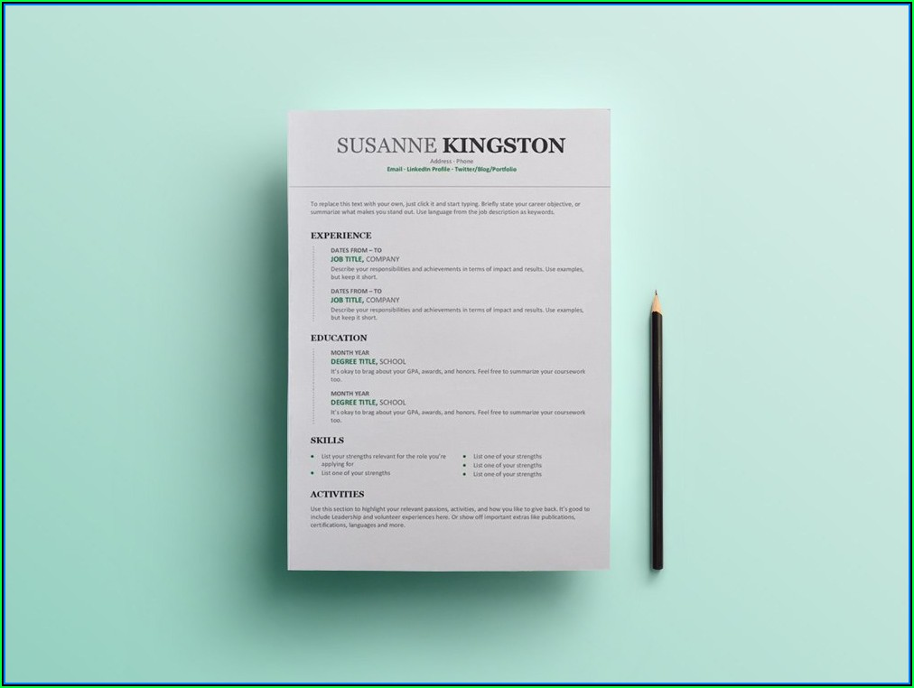 Free Modern Chronological Resume Template