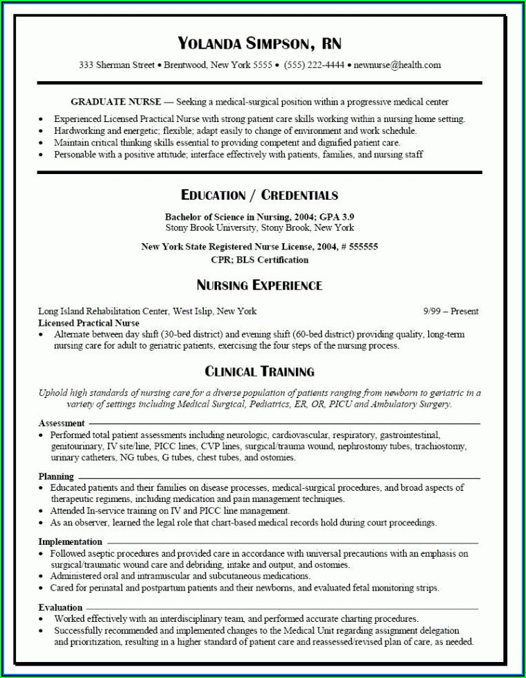 Free Nurses Resume Templates