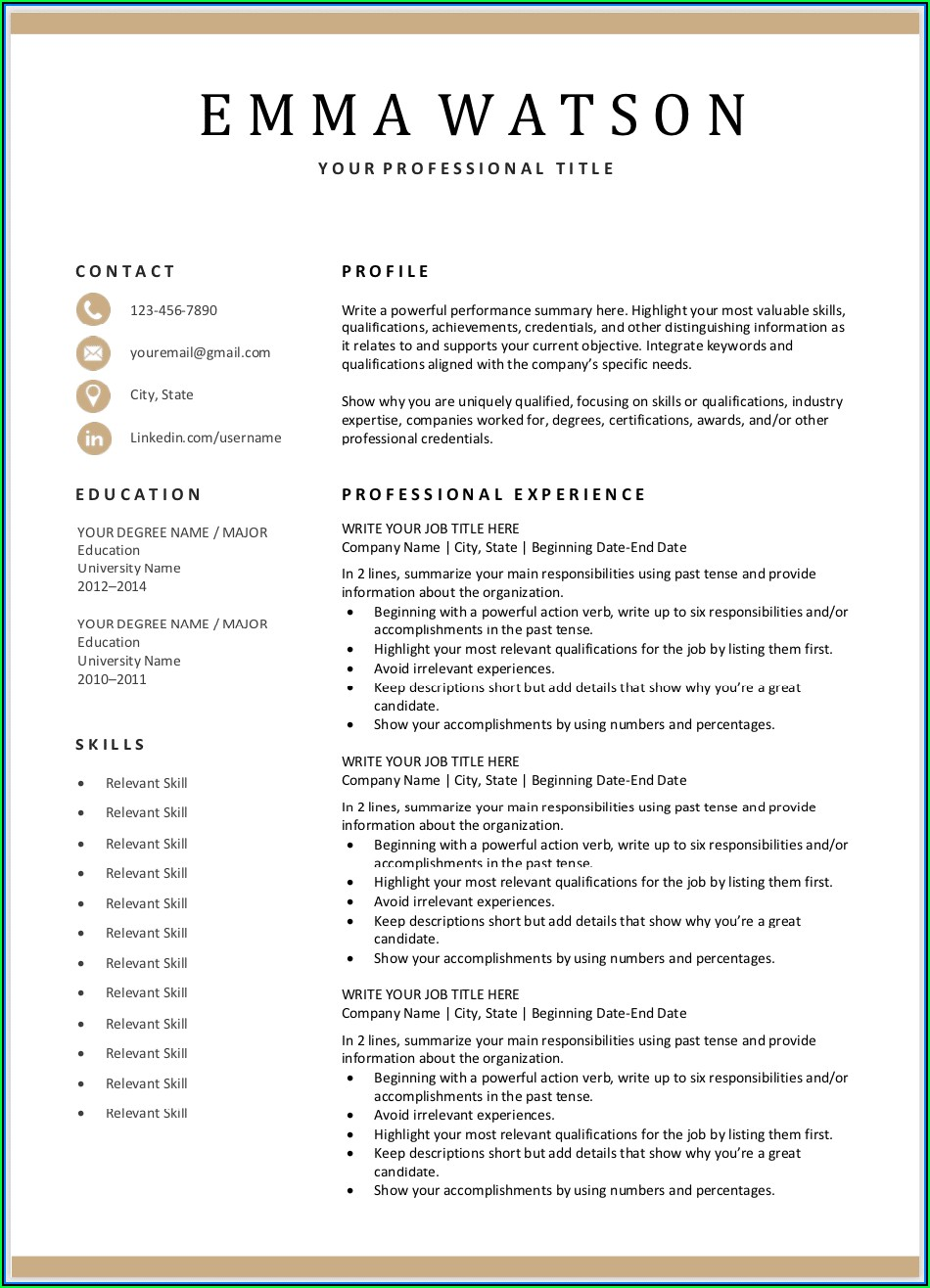 Free Online Download Resume Templates