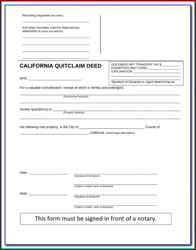 Free Orange County Florida Quit Claim Deed Form