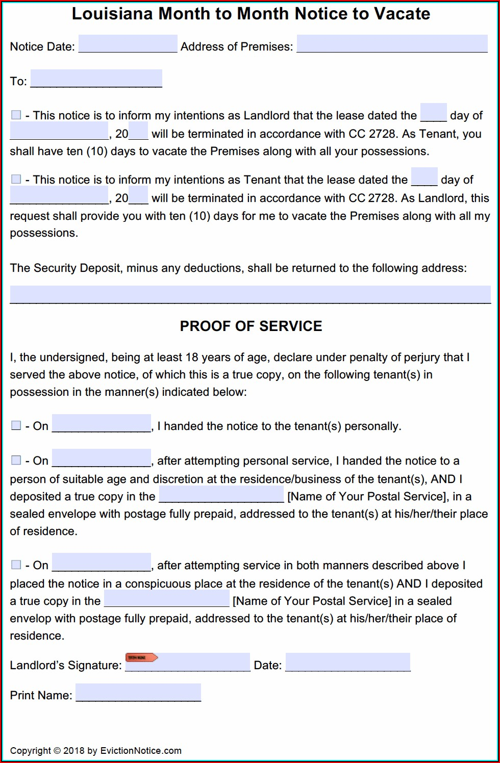 Free Pa Eviction Notice Form