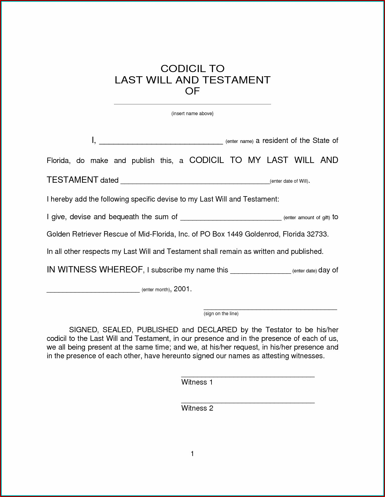 Free Printable Last Will And Testament Forms Arizona