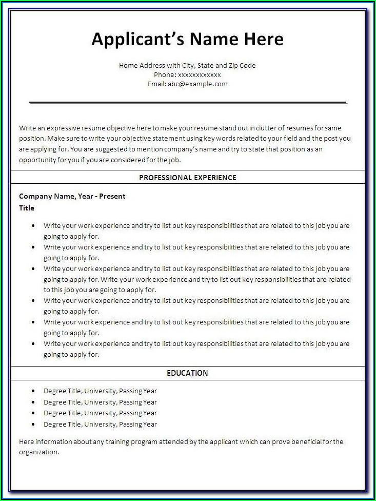 Free Printable Resume Online