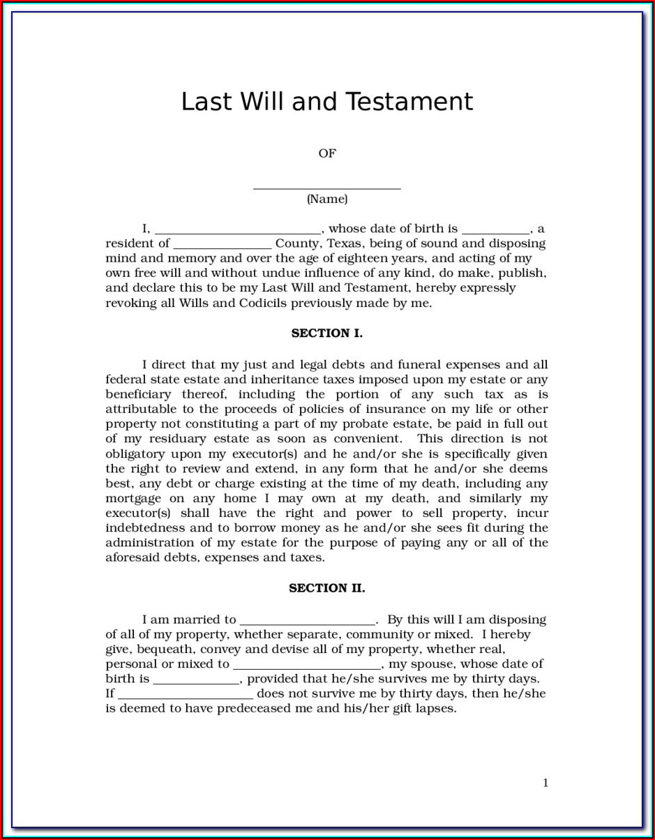 Free Printable Will And Last Testament Forms