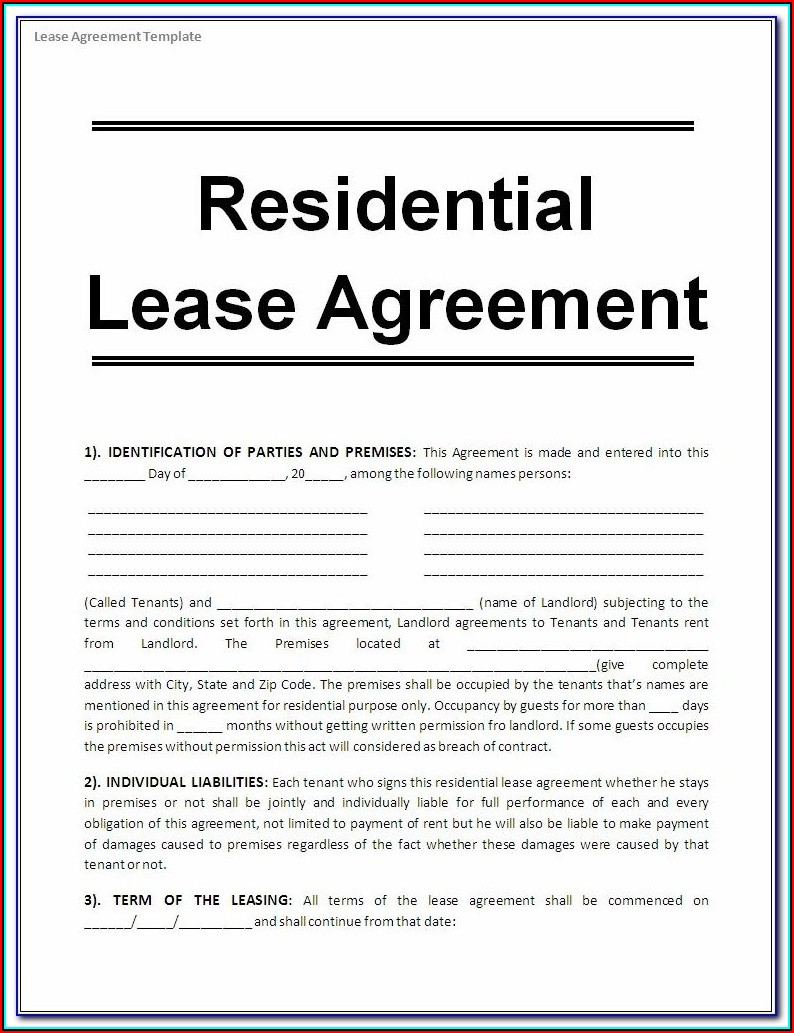 Free Residential Rental Agreement Forms Georgia