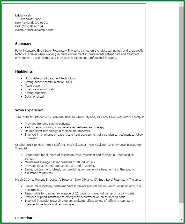 Free Respiratory Therapist Resume Templates