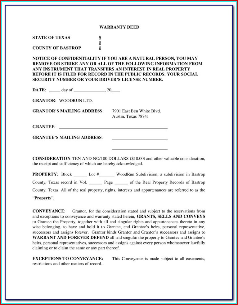 Free Texas Deed Without Warranty Form