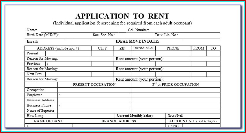 Generic Apartment Application Form