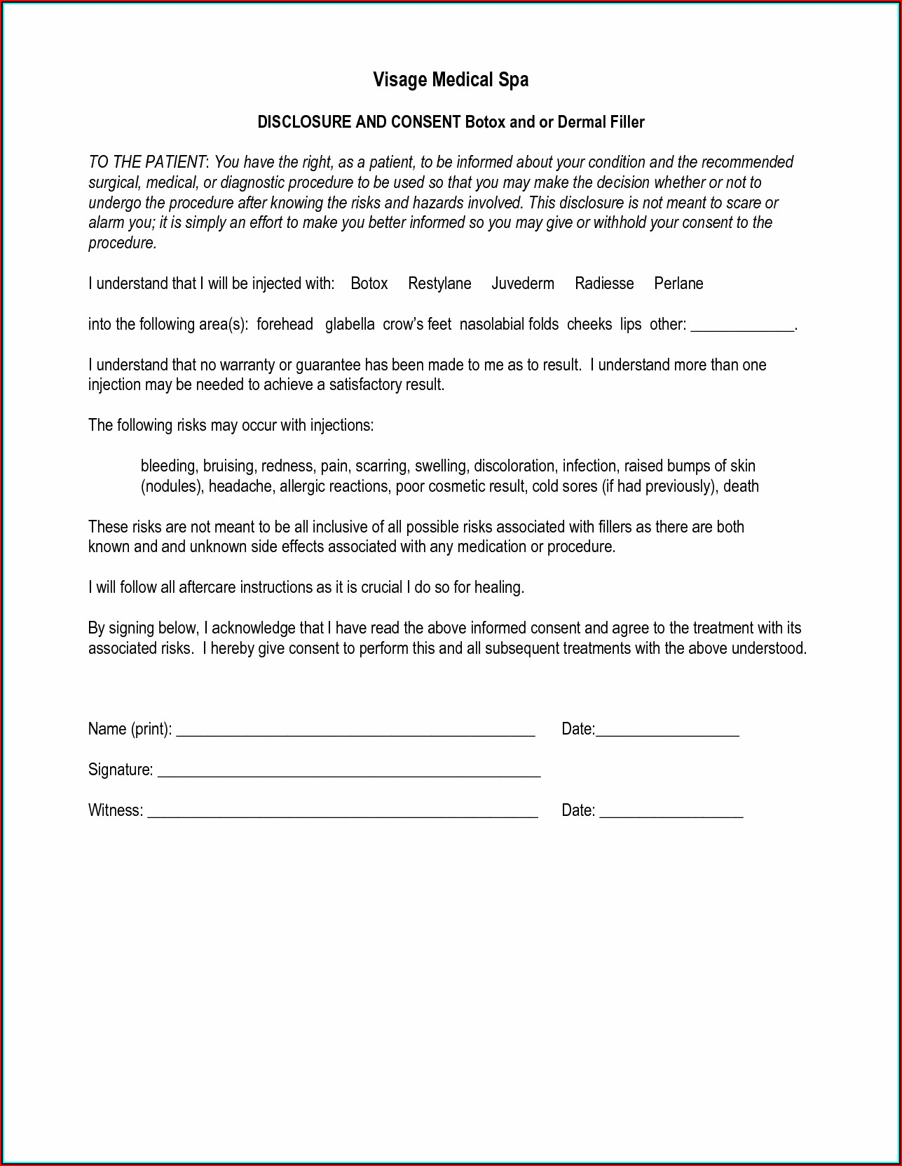 Generic Laser Hair Removal Consent Form