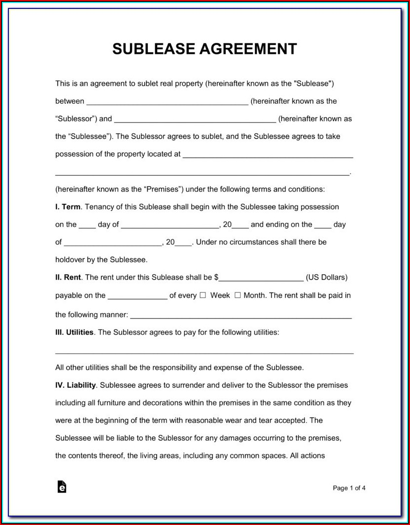 Generic Sublease Agreement Form