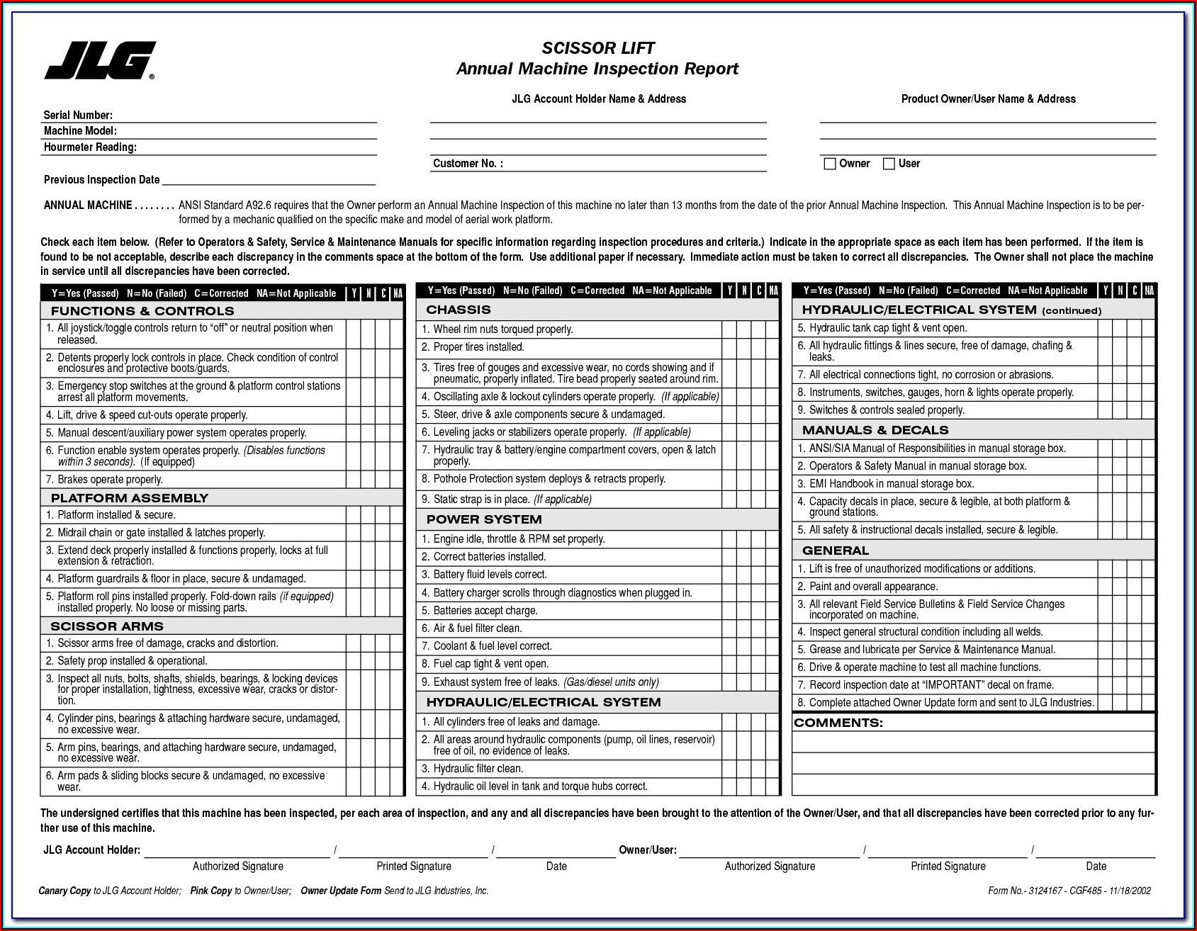 Genie Aerial Lift Annual Inspection Form