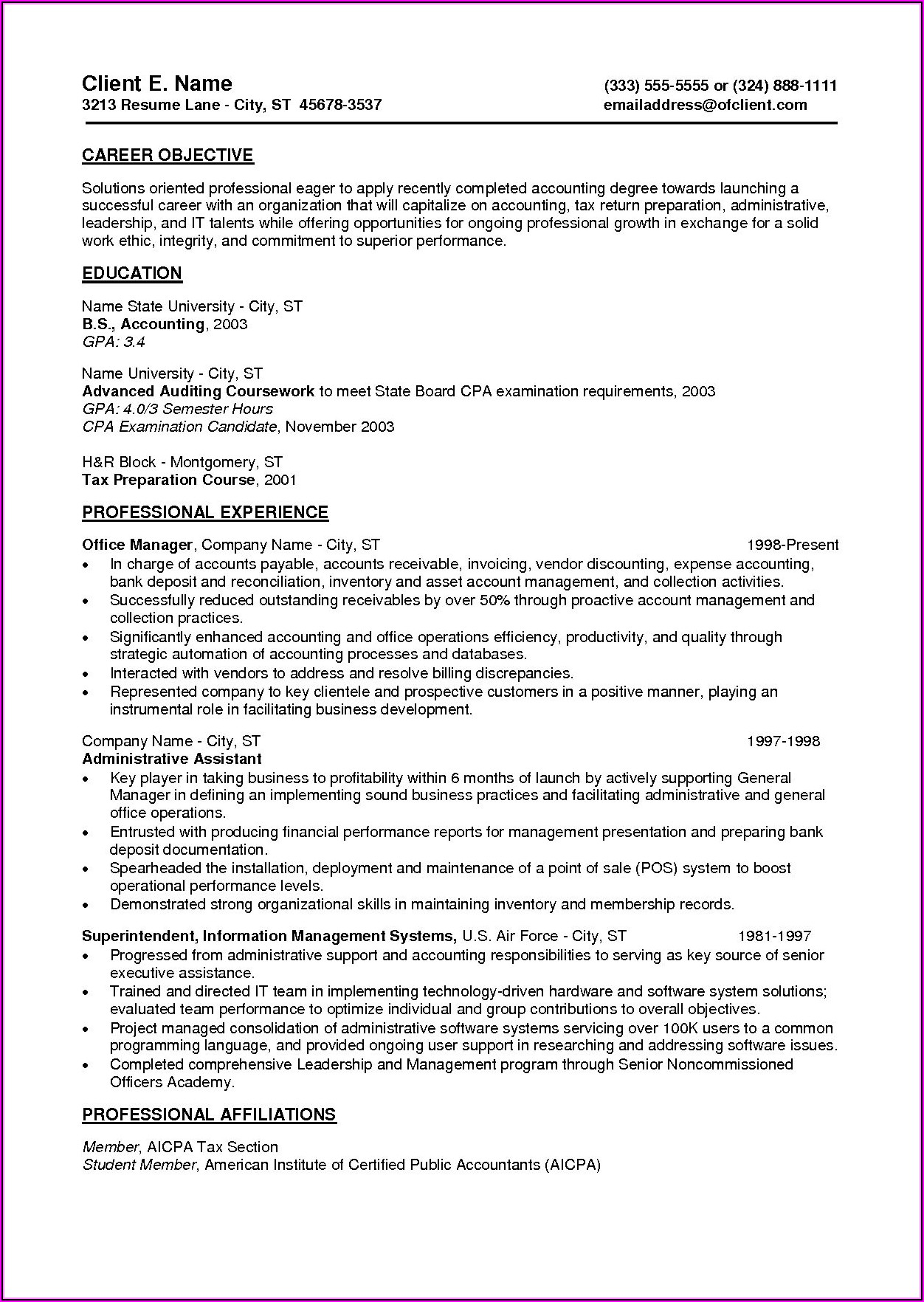 Free Resume Examples For Entry Level Jobs