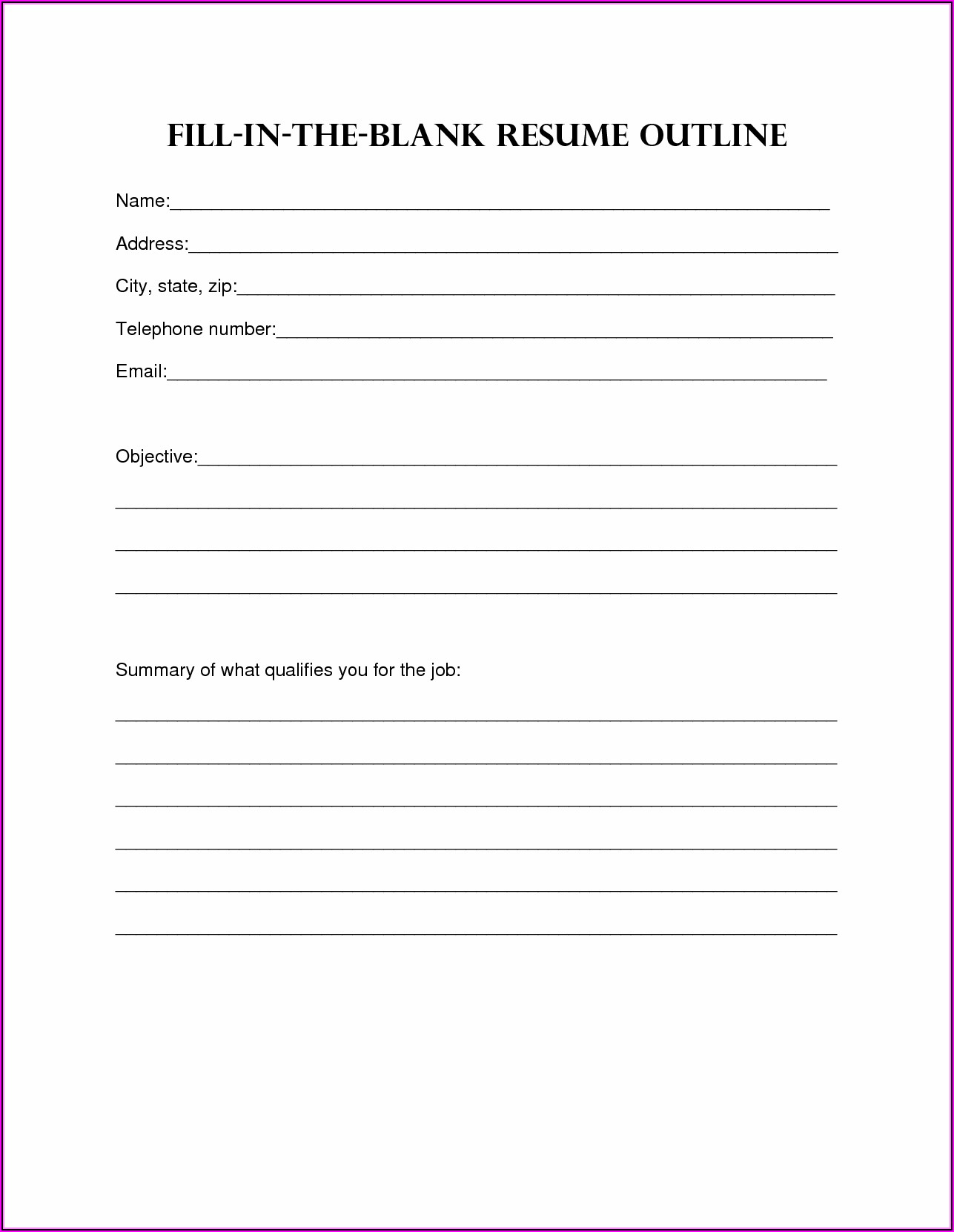 Free Resume Fill In The Blank Pdf