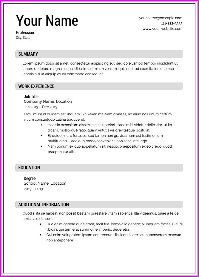 Free Resume Printables