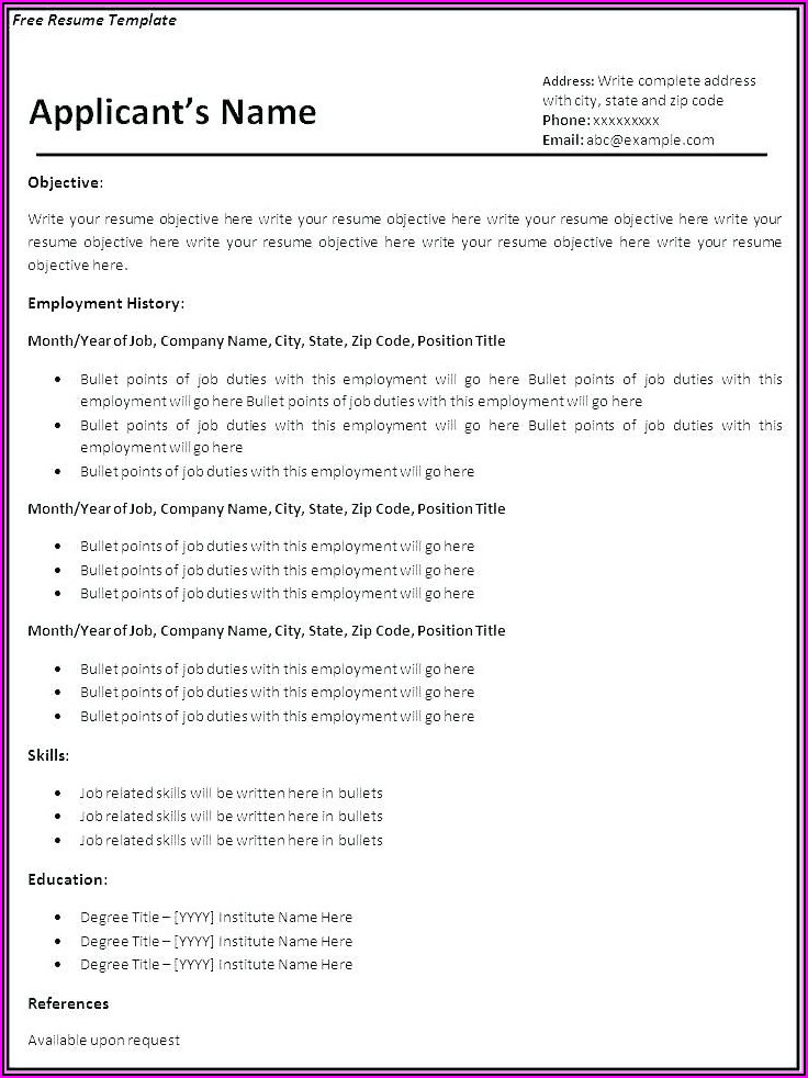 Free Resume Samples For Jobs
