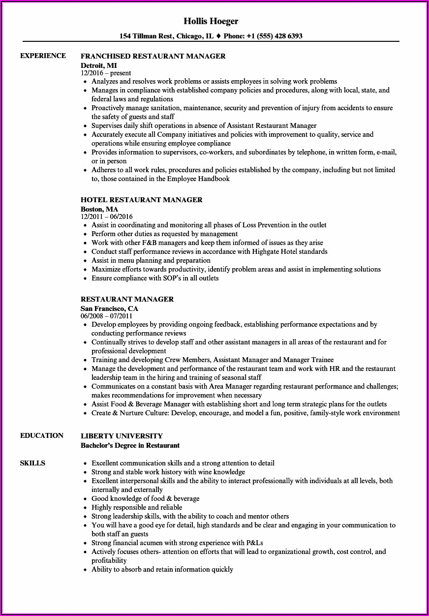 Free Resume Templates For Restaurant Manager