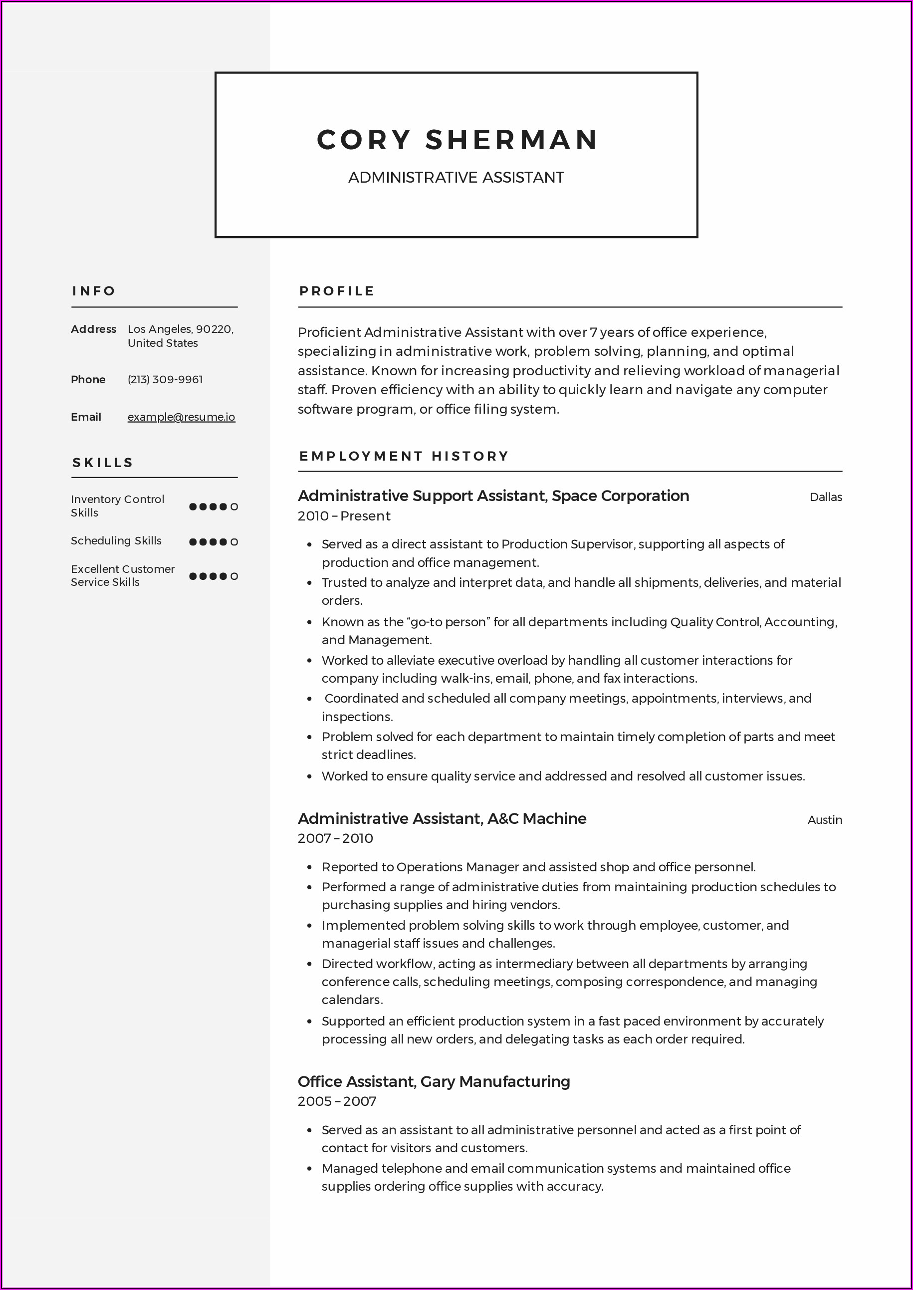 Free Sample Executive Assistant Resume Templates