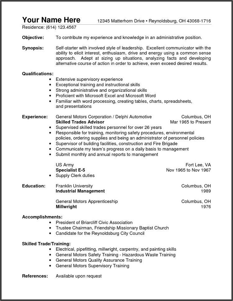 Free Sample Warehouse Resume Template