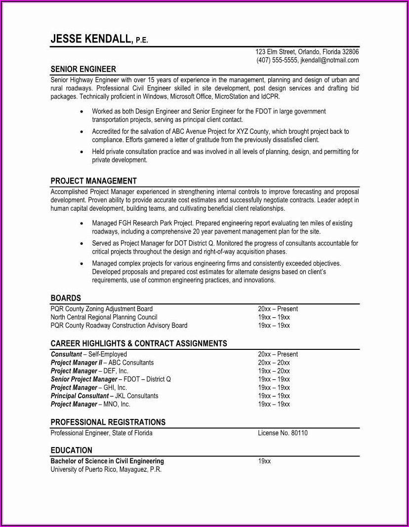 Free Samples Of Professional Resumes