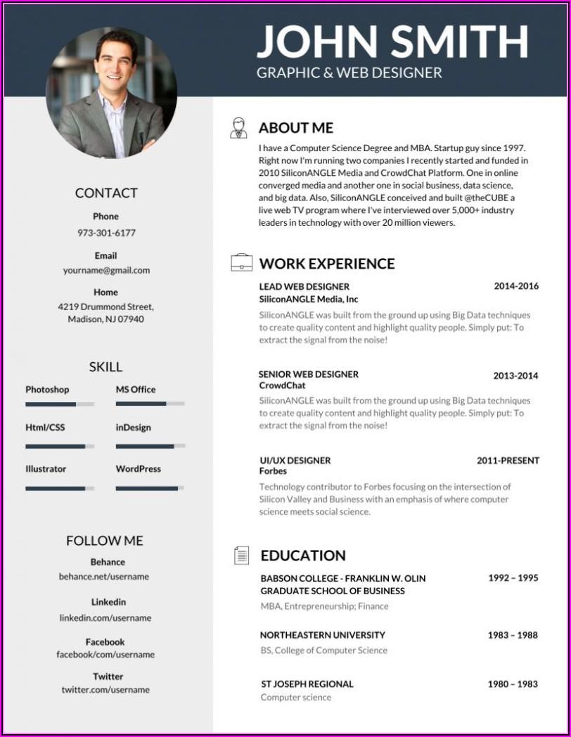 Free Template Resume 2018