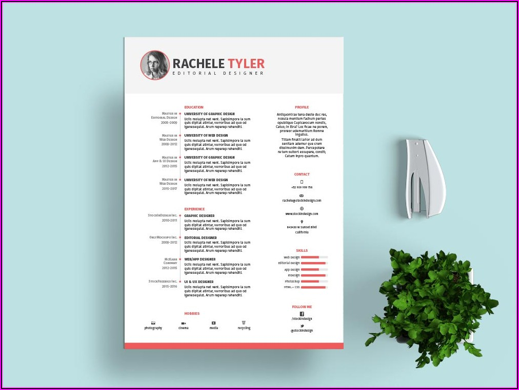 Free Template Resume Indesign