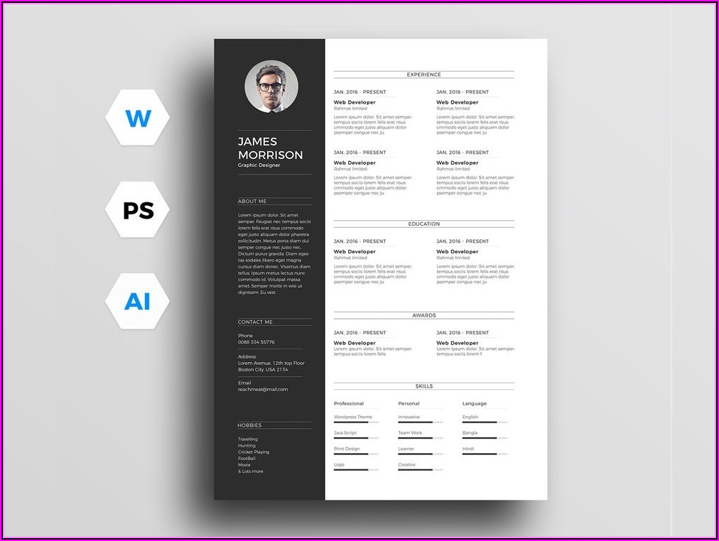 Free Template Resume Photoshop