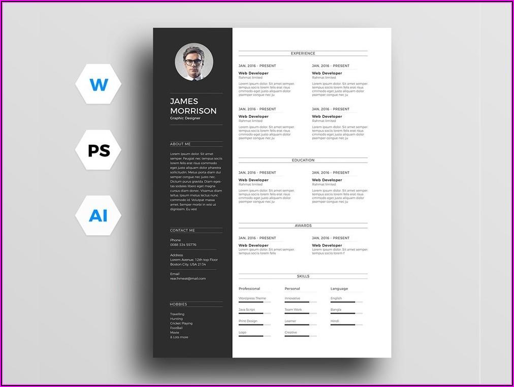 Free Template Resume Photoshop