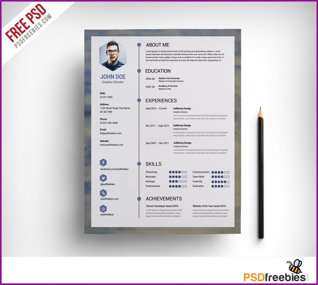 Free Template Resume Psd