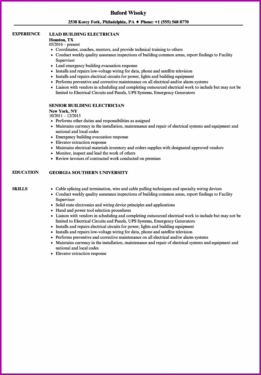 Good Resume For Electrician