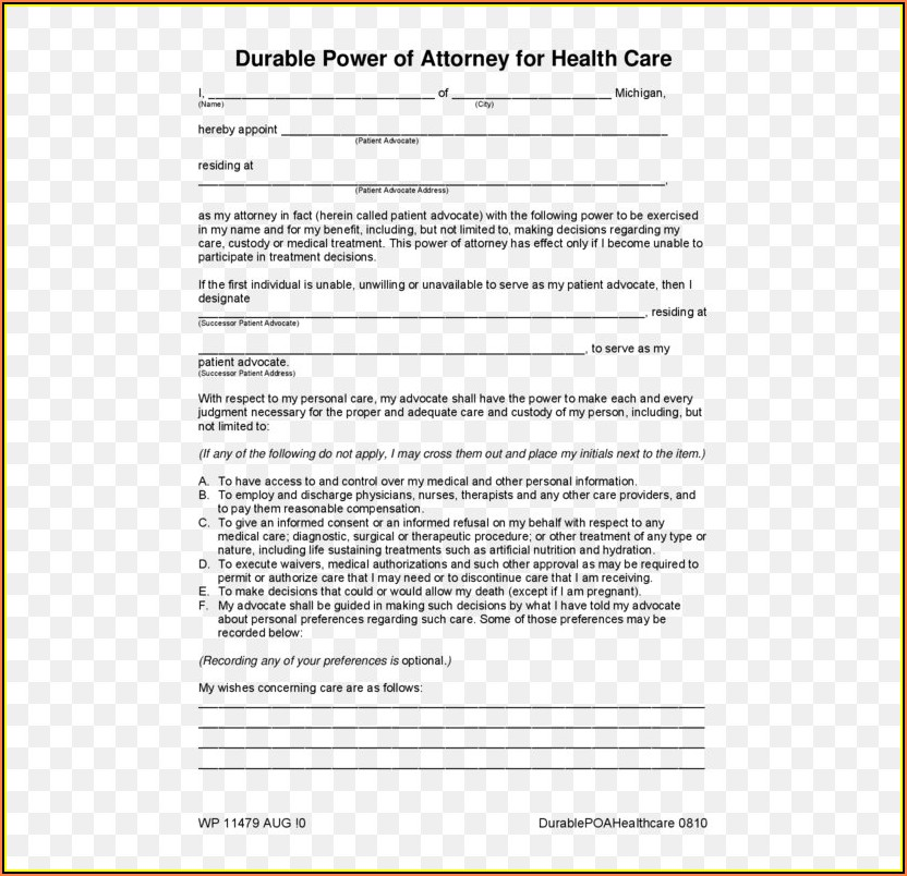 Healthcare Power Of Attorney Form