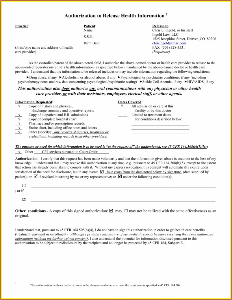 Hipaa Compliant Authorization Form Pursuant To 45 Cfr 164.508