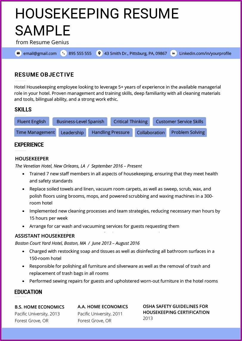 Housekeeping Resume Example Template