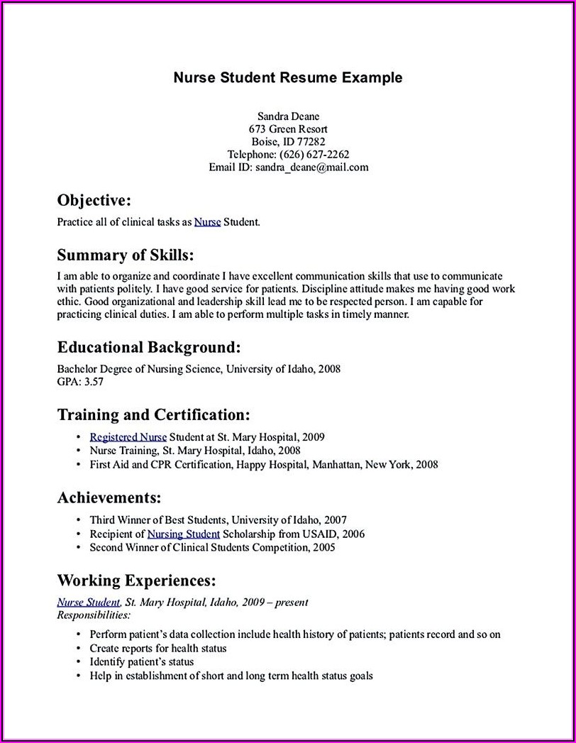How To Create A Nursing Student Resume