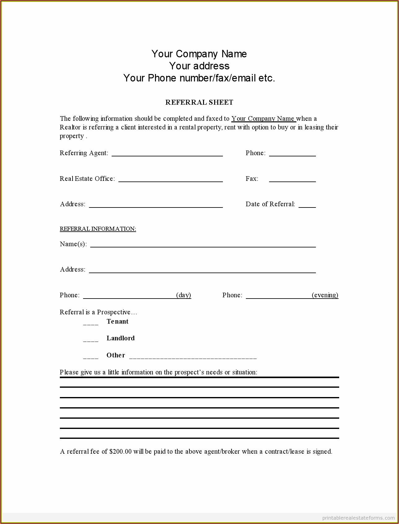 How To Fill Out A Real Estate Agent Referral Form