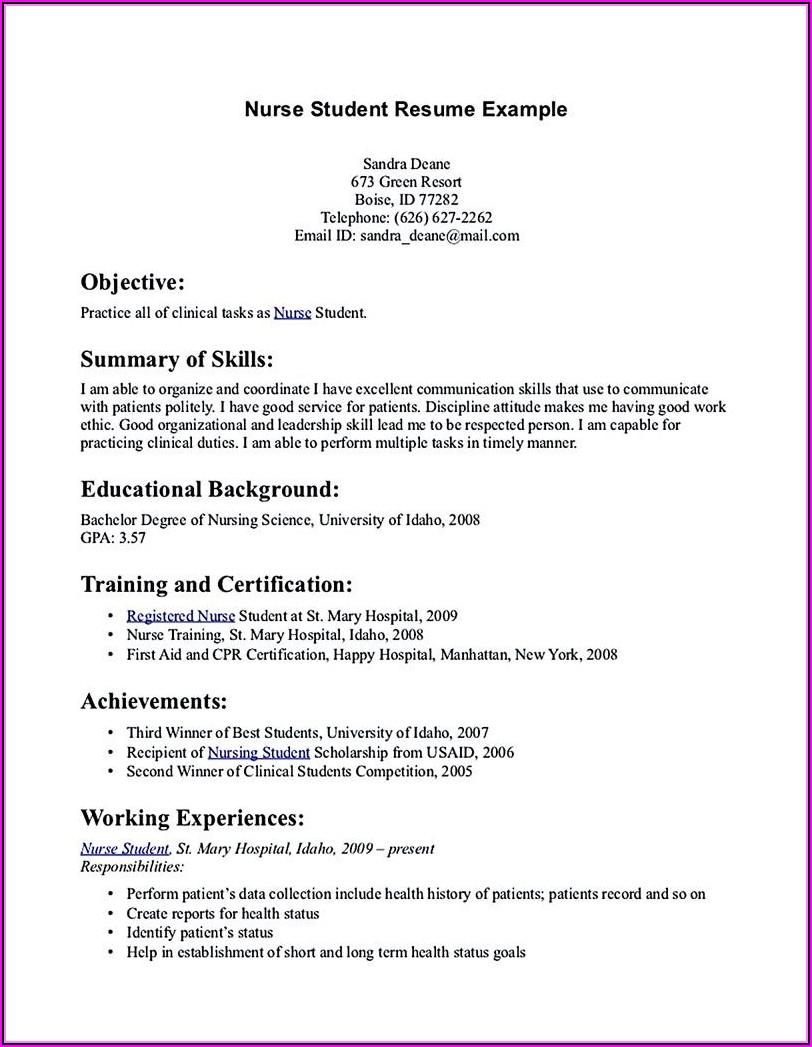 How To Make A Resume Nursing Student
