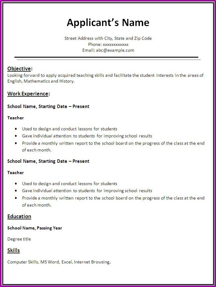How To Make A Simple Resume For Teacher Job