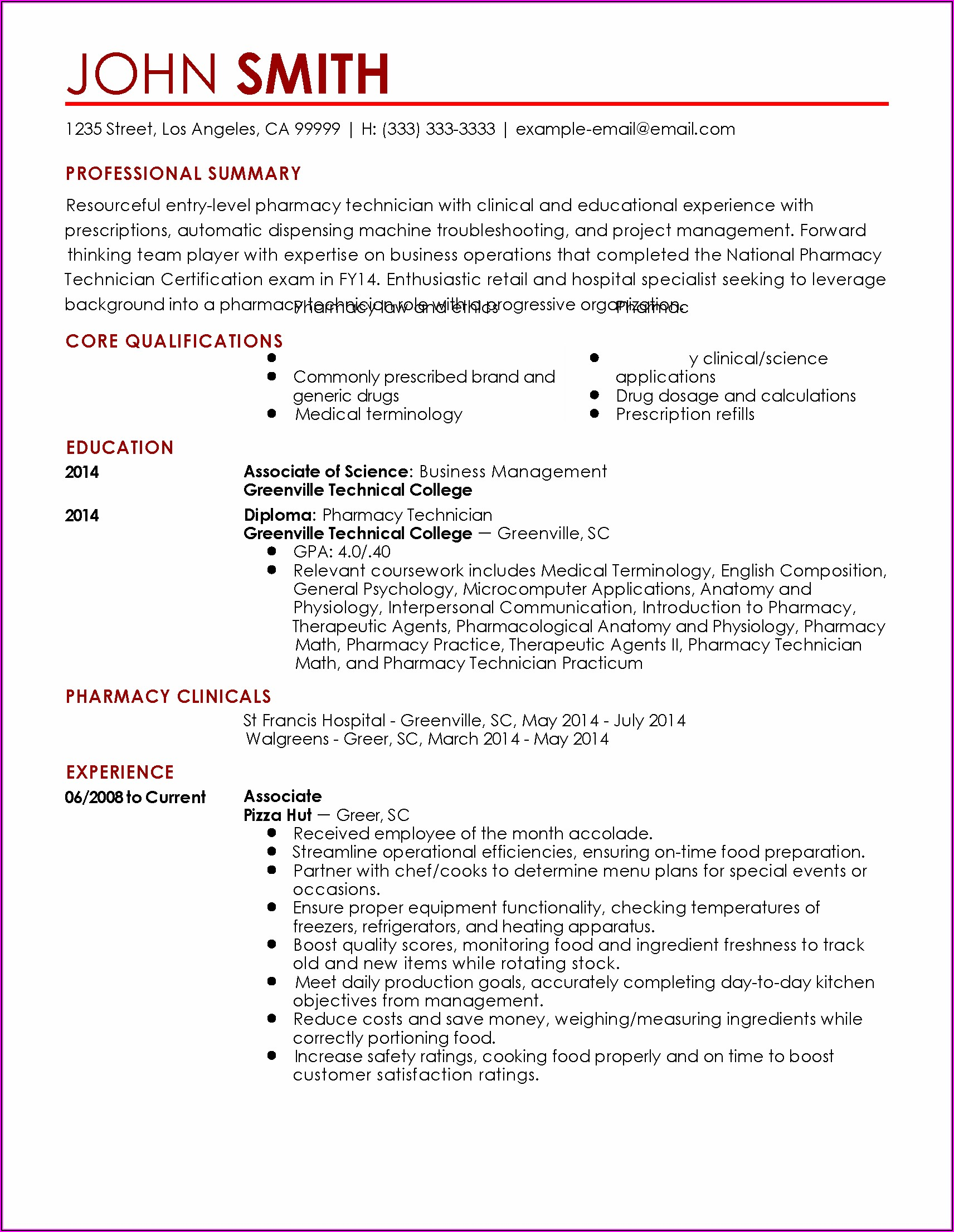How To Write A Resume For Pharmacy Technician